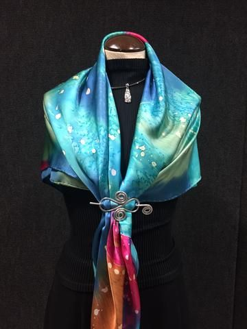 Galaxy - Hand Painted Silk Scarf / Wrap