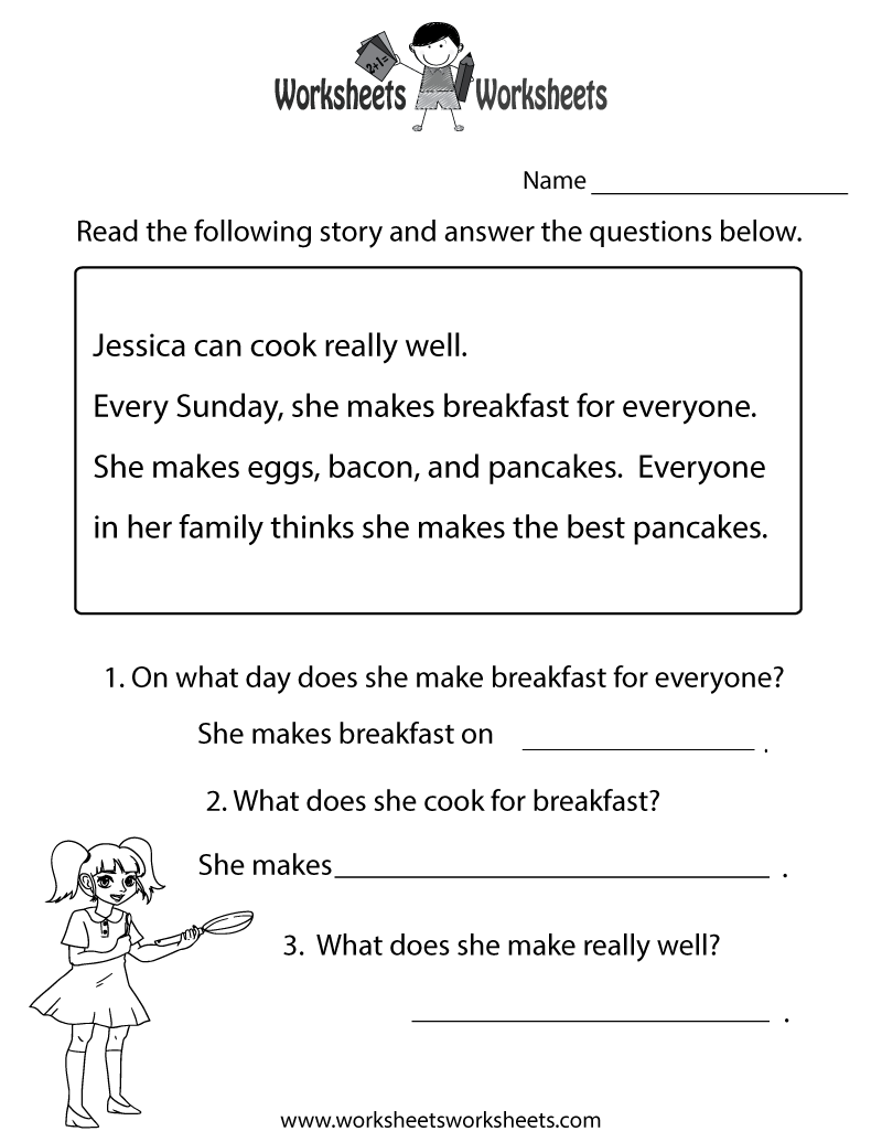 picture relating to Free Printable Reading Comprehension Worksheets for 1st Grade referred to as Looking at Comprehending Check Worksheet Printable Examining