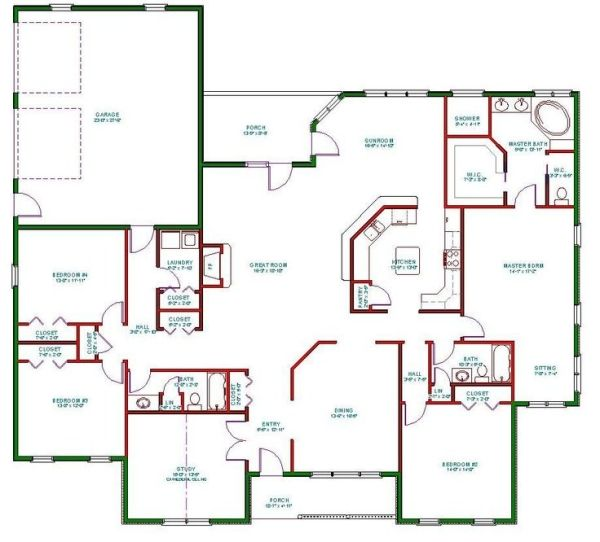Single Story Open Floor Plans Plan Single Level One Story Ranch House Plan The House Pla New House Plans House Plans One Story Small House Floor Plans