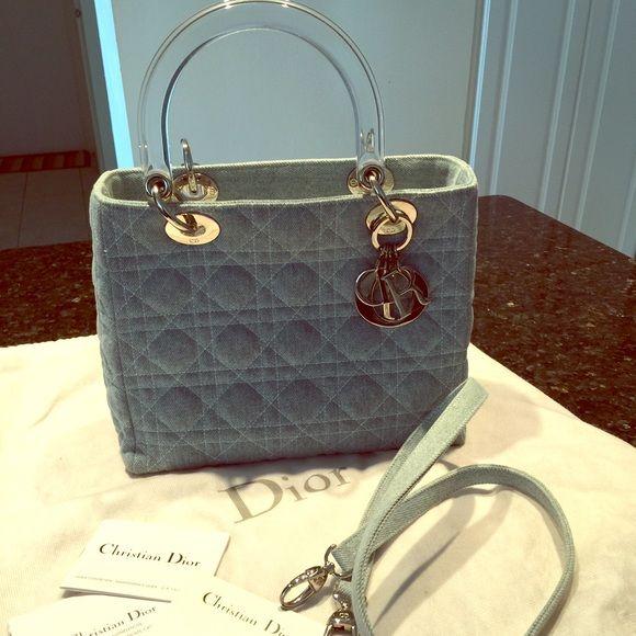 70e16e925506 👯HP👯Christian Dior Lady Dior denim carnage tote Christian Dior Lady Dior  denim carnage 2-WAY handbag tote bag logo light blue / clear x silver  fittings ...