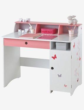 Vertbaudet Kinderschreibtisch Mit Schmetterlingen In Weiss Rosa Kinderschreibtisch Kinderzimmer Weiss Schreibtisch Madchen