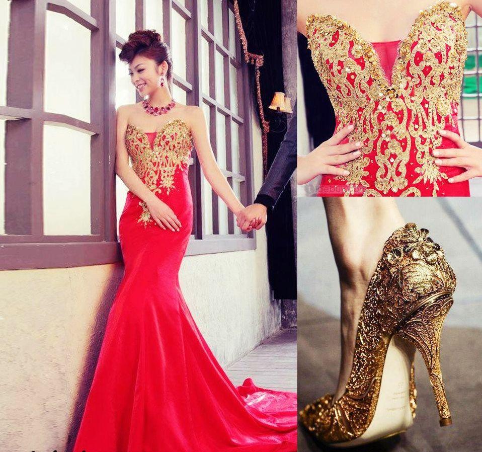 Vestido de noche rojo dorado