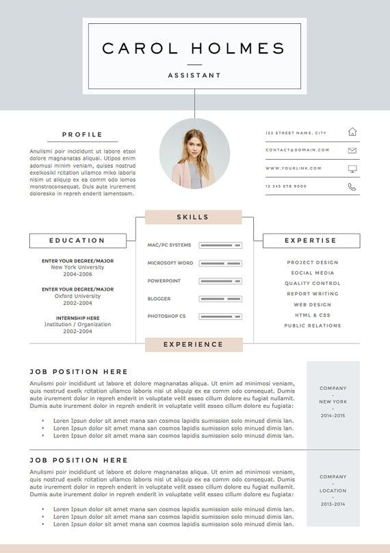 5 page Resume Template and Cover Letter + References Template for