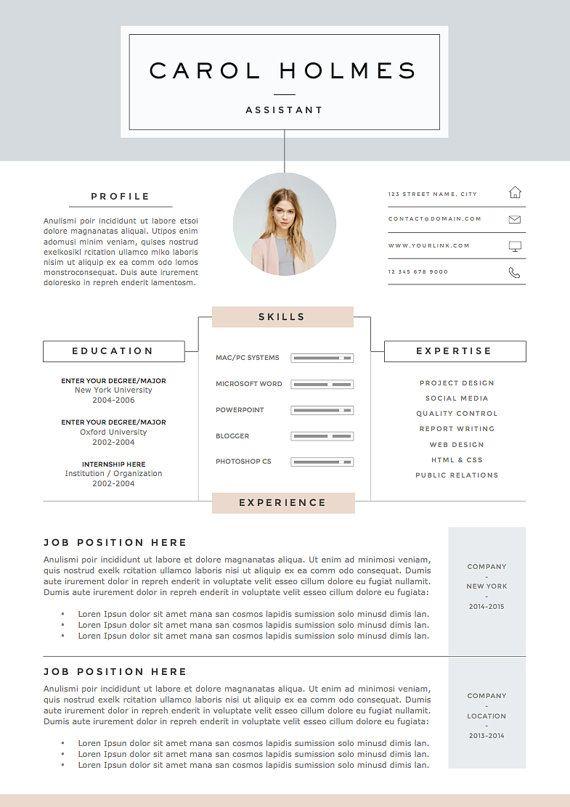 Plantilla De Cv De 5 Paginas Y Carta De Presentacion Etsy Resume Design Resume Template Creative Resume