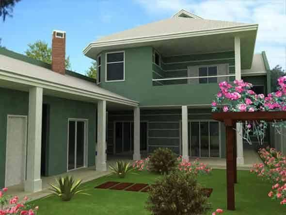 Fachada verde para casas a nova tend ncia 002 fachadas for Casas modernas pintadas