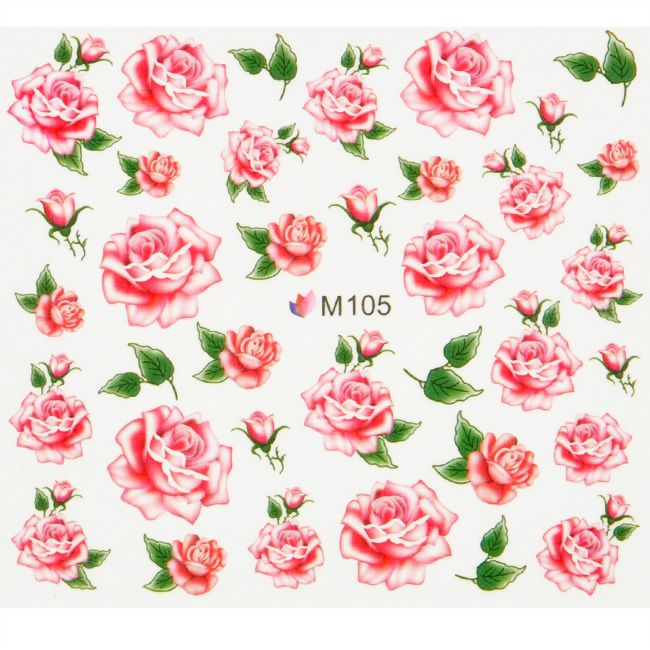 Hot Sale flower partten water transfer Nail Art Stickers Decals For ...