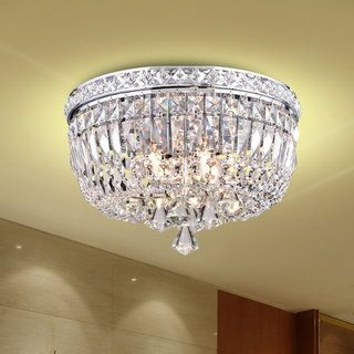 Giselle Chrome Finish 2 Tier Crystals Square Flush Mount Chandelier Two Clear