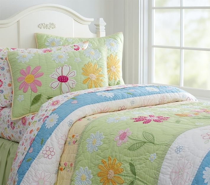 Daisy Garden Quilted Bedding Girl, Daisy Garden Quilted Bedding Pottery Barn