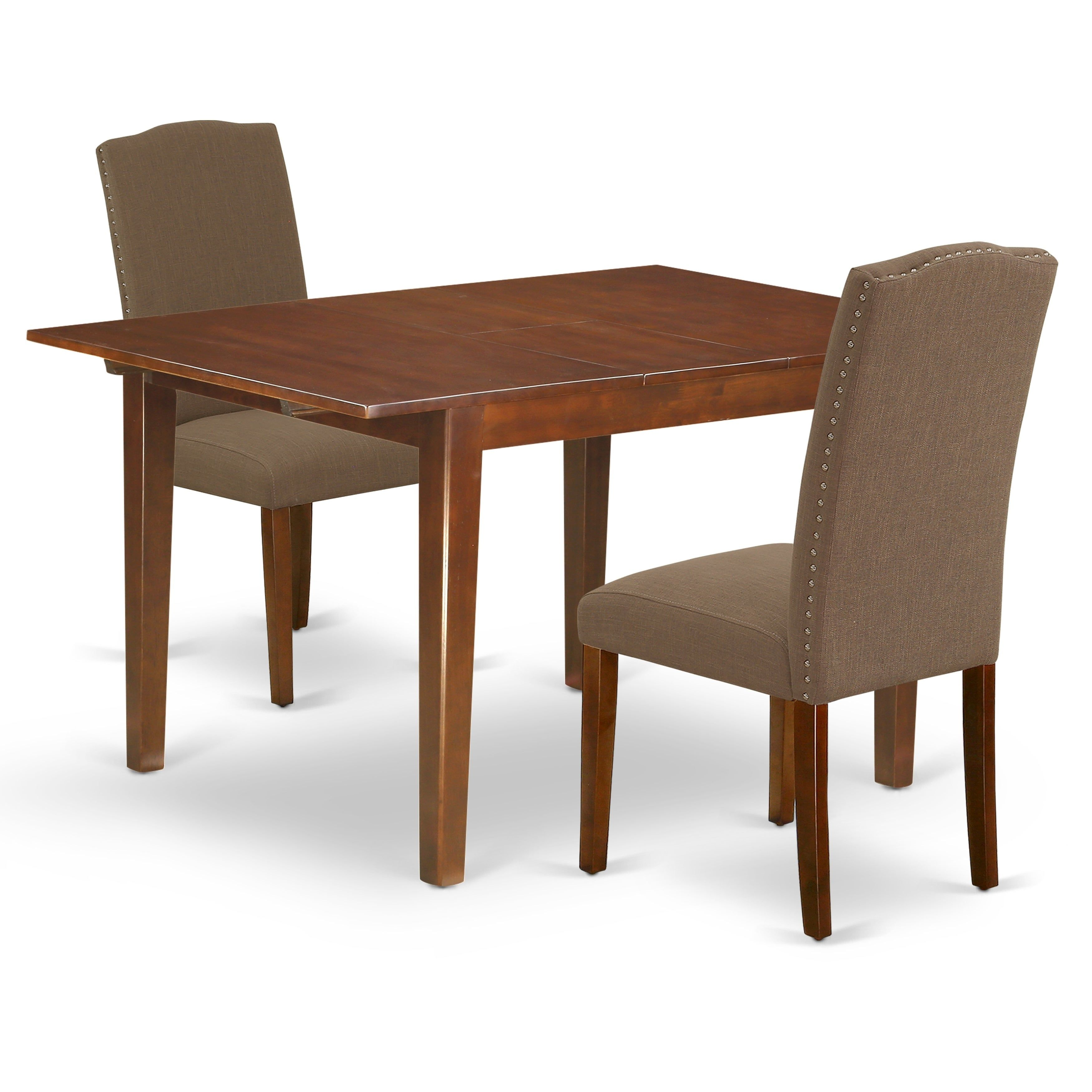 Rectangle 42 53 5 Inch Table And Parson Chairs In Dark Coffee