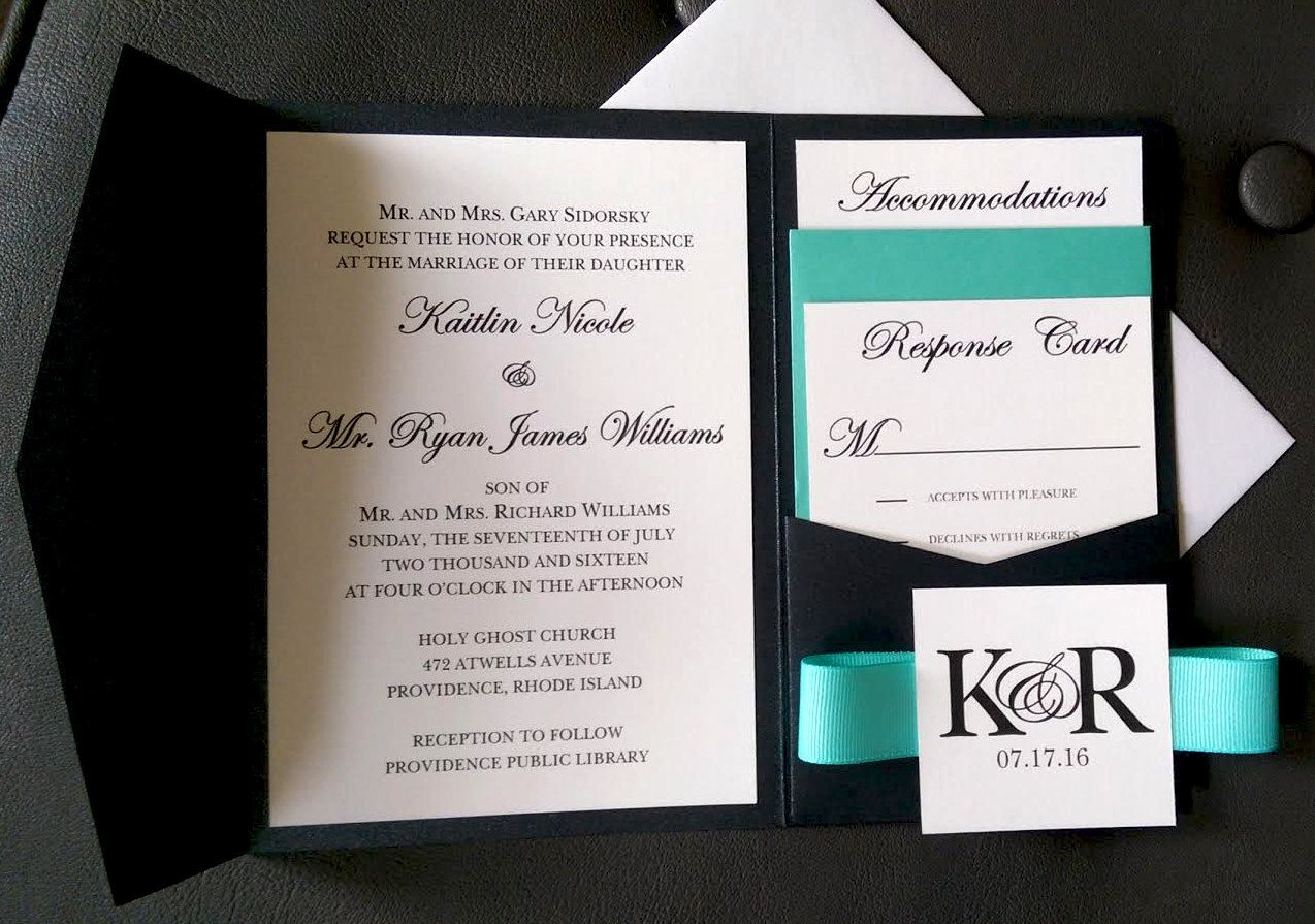 Tiffany Blue Pocket Wedding Invitation, Black and White Wedding ...