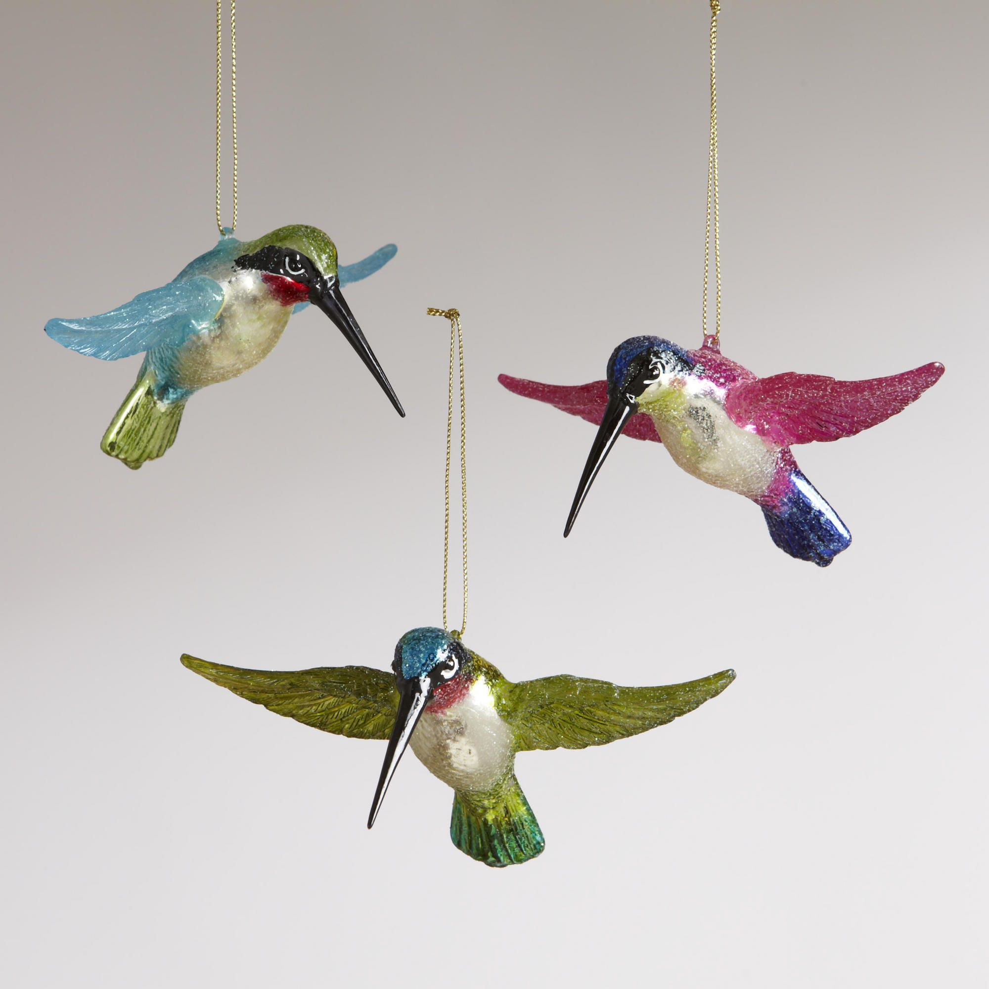 Glass animal ornaments - Flying Hummingbird Ornaments Set Of 3