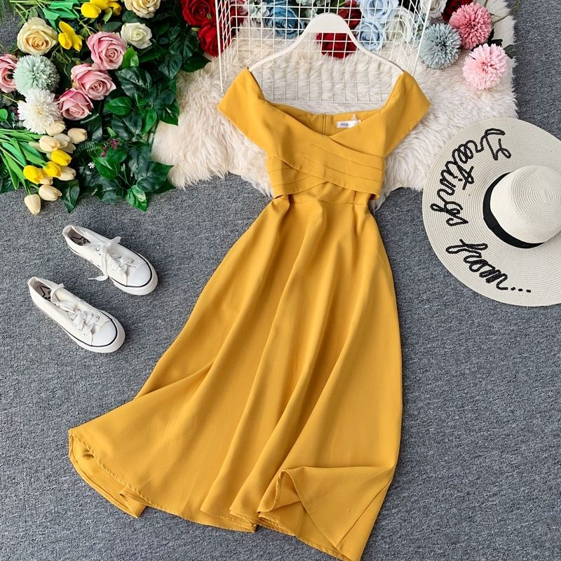 Vintage Slim Ruffles Sexy Off Shoulder Summer Autumn Midi Long A-Line Dress