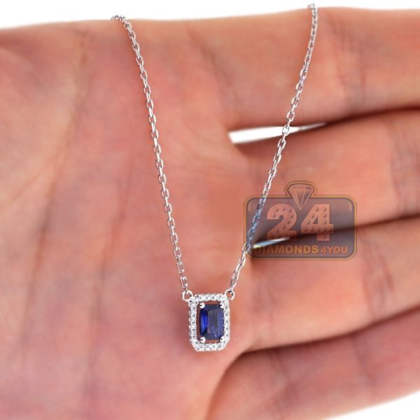 8e3f87c9c27 Womens Blue Sapphire Gemstone Diamond Halo Small Drop Pendant 14K White Gold
