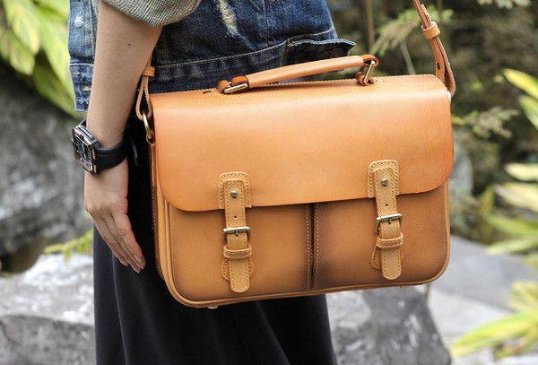 Handmade vintage satchel leather normal messenger bag beige shoulder b