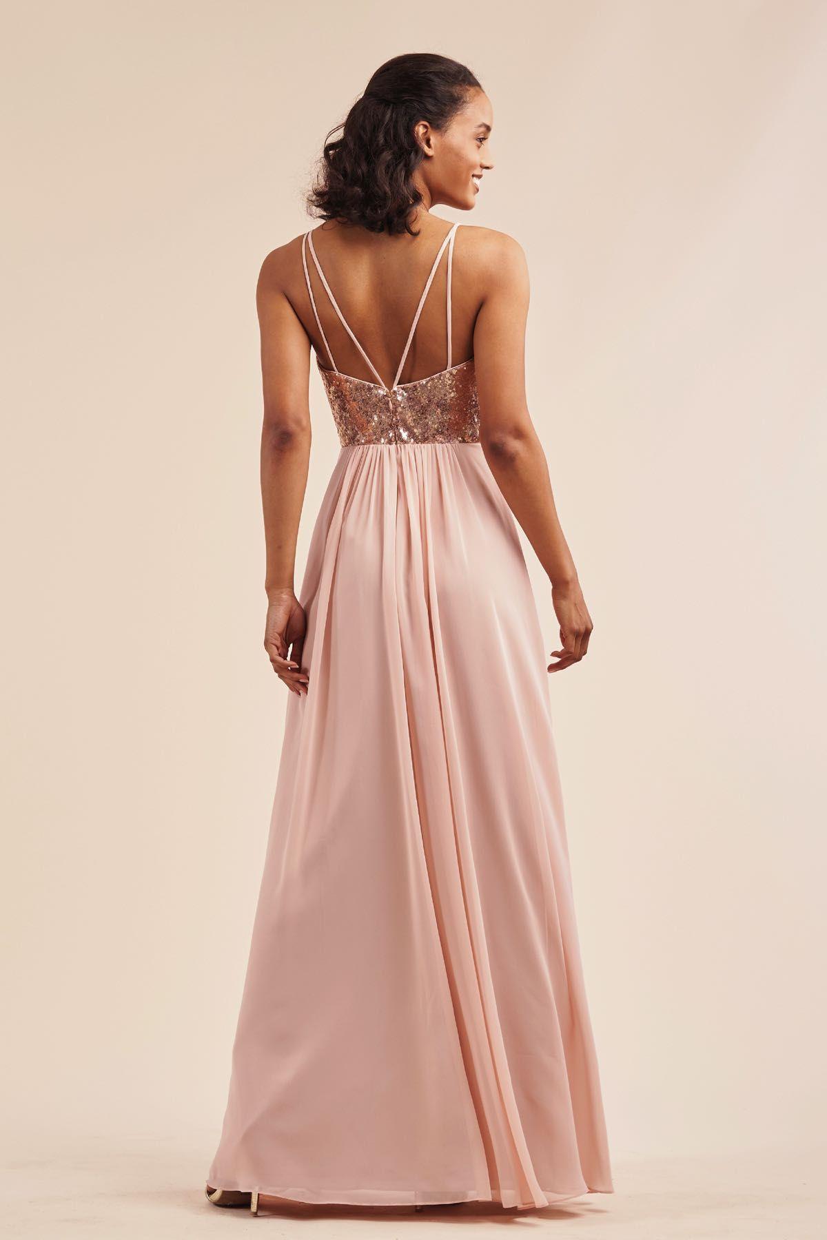 B213066 sequin poly chiffon long bridesmaid dress with v