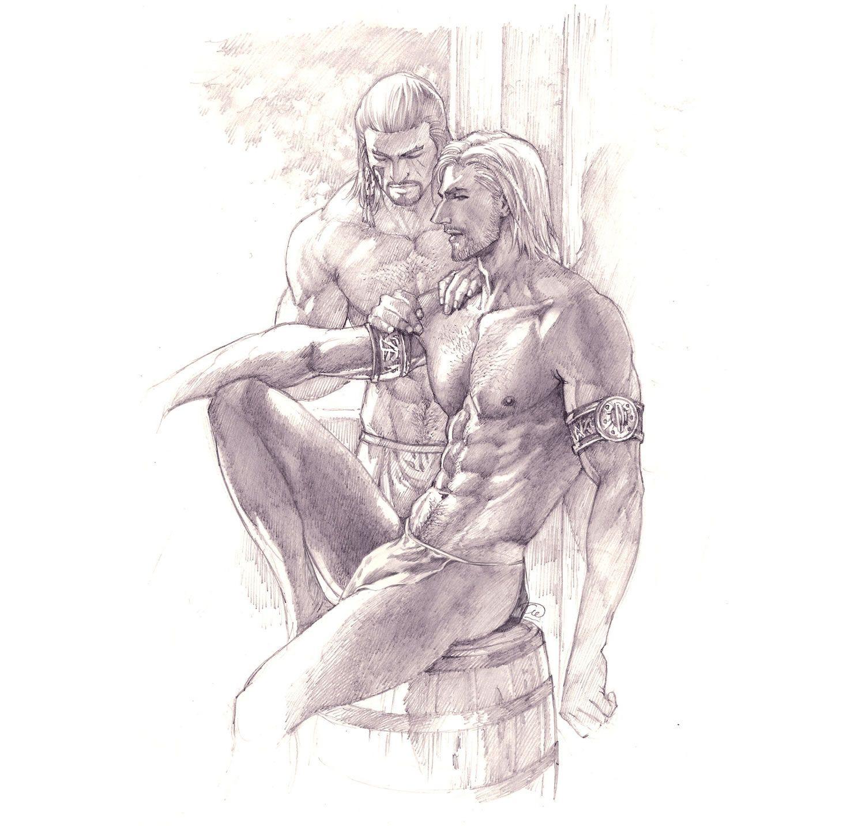 Homoerotic warrior scene by aenaluck