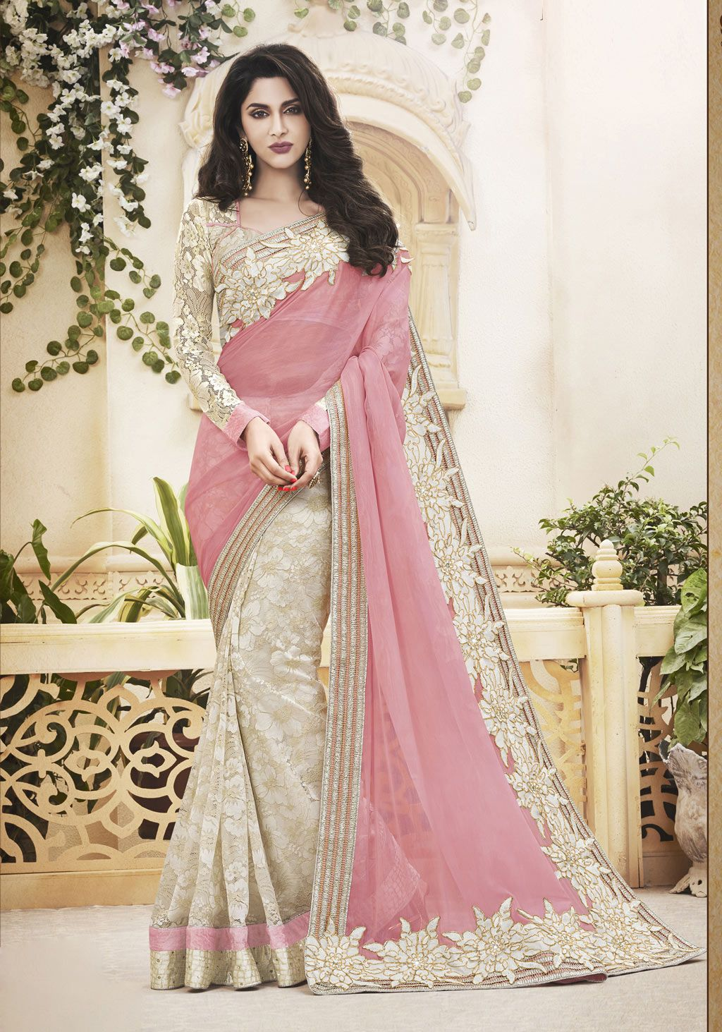 Pink Chiffon Half and Half Saree With Blouse 61853 | Saree ...
