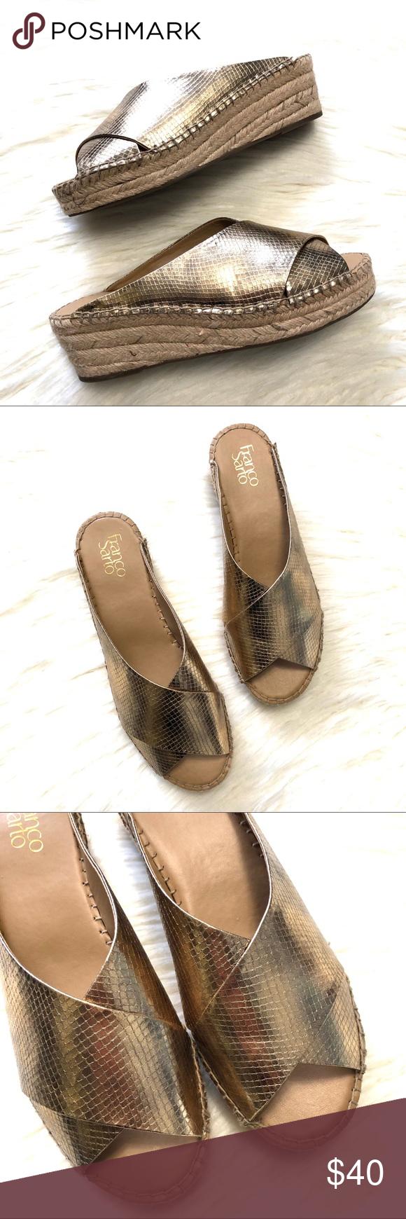 15bd84767c2 Franco Sarto Polina espadrille wedge gold sandals Franco Sarto ...
