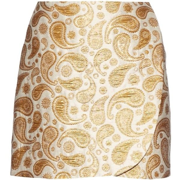 Stella McCartney Beth metallic paisley-jacquard mini skirt (2.690 NOK) ❤ liked on Polyvore featuring skirts, mini skirts, bottoms, paisley skirt, retro mini skirt, jacquard skirt, metallic mini skirt and beige mini skirt