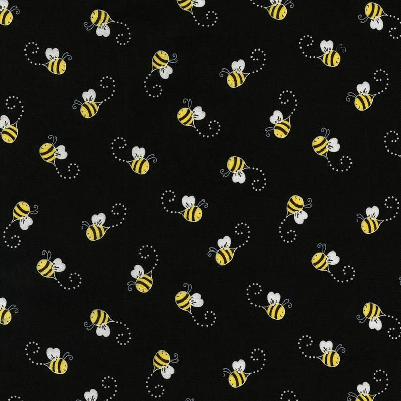 You are My Sunshine from Timeless Treasures - 1/2 Yard of Bees on Black - Honeybees
