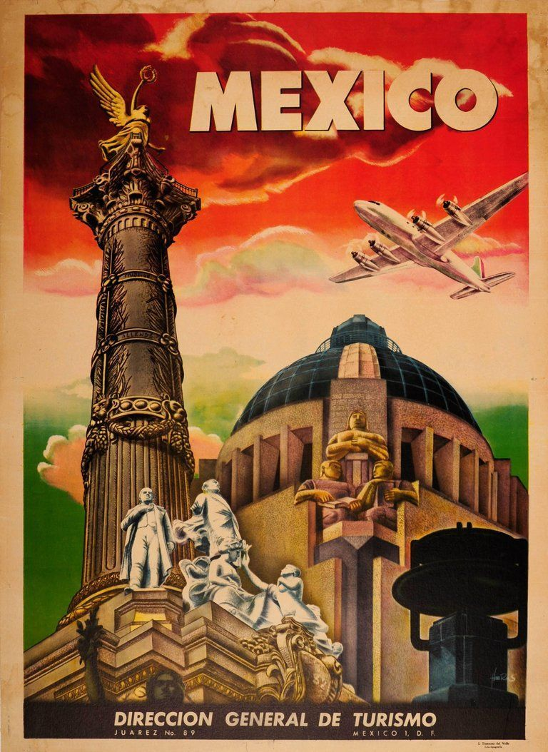 Unknown Original Vintage Art Deco Style Mexico Travel Poster Ft Mexico City Monuments In 2020 Retro Travel Poster Travel Posters Vintage Travel Posters