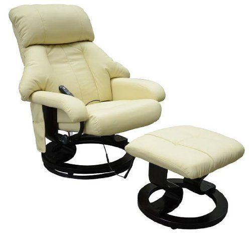 Homcom Fauteuil de massage relaxation chauffage electrique repose-pied  creme 72 21c83bdbcb3e