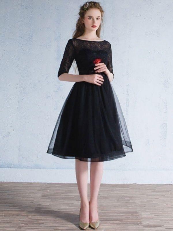 schwarze spitze bescheiden knie-länge-formale