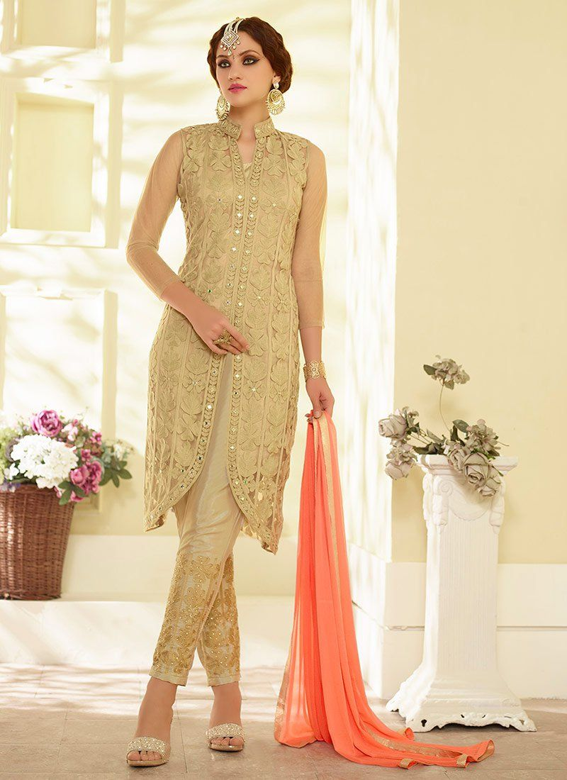 Buy Beige Net Straight Pant Suit online from the wide collection of Salwar Kameez. This Beige colored Salwar Kameez in Net fabric goes well with any occasion. Shop online Designer Salwar Kameez from cbazaar at the lowest price.