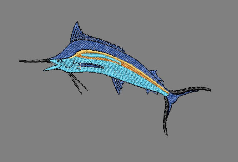 Game fish marlin, Single Size. Five color Embroidery Machine Design File. I create digitized files for nearly every embroidery machine, here is one of my creation for all embroidery purposes. Width -3.2″ Height – 2″ stitches 4,800:   Brother/Babylock/Bernina PEC (.pec) Brother/Babylock/Bernina PES (.pes) Husqvarna (.hus) Husqvarna Viking/Pfaff (.vip) Husqvarna Viking/Pfaff (.vp3) Janome (.jef and .sew) Melco Expanded (.exp) Pfaff (.pcs) Tajima (.dst) Toyota (.10O)