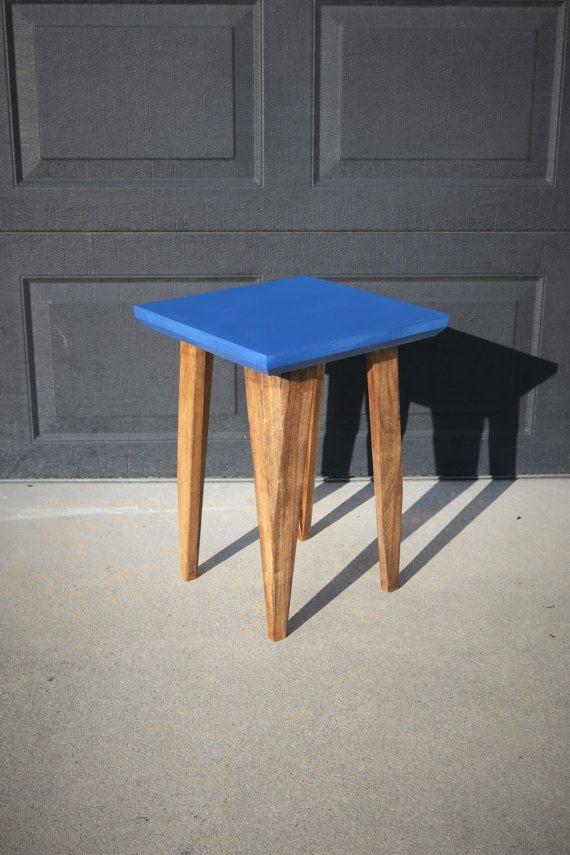 Square Side Table End Beveled Edge Custom Made Mid Century Modern