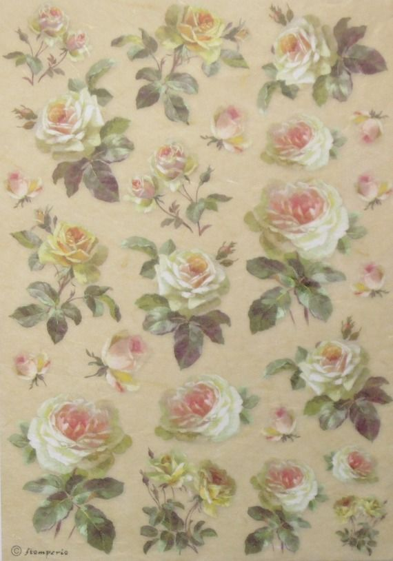 Rice Decoupage Paper//roses L//Craft papier//découpage feuilles//scrapbooking