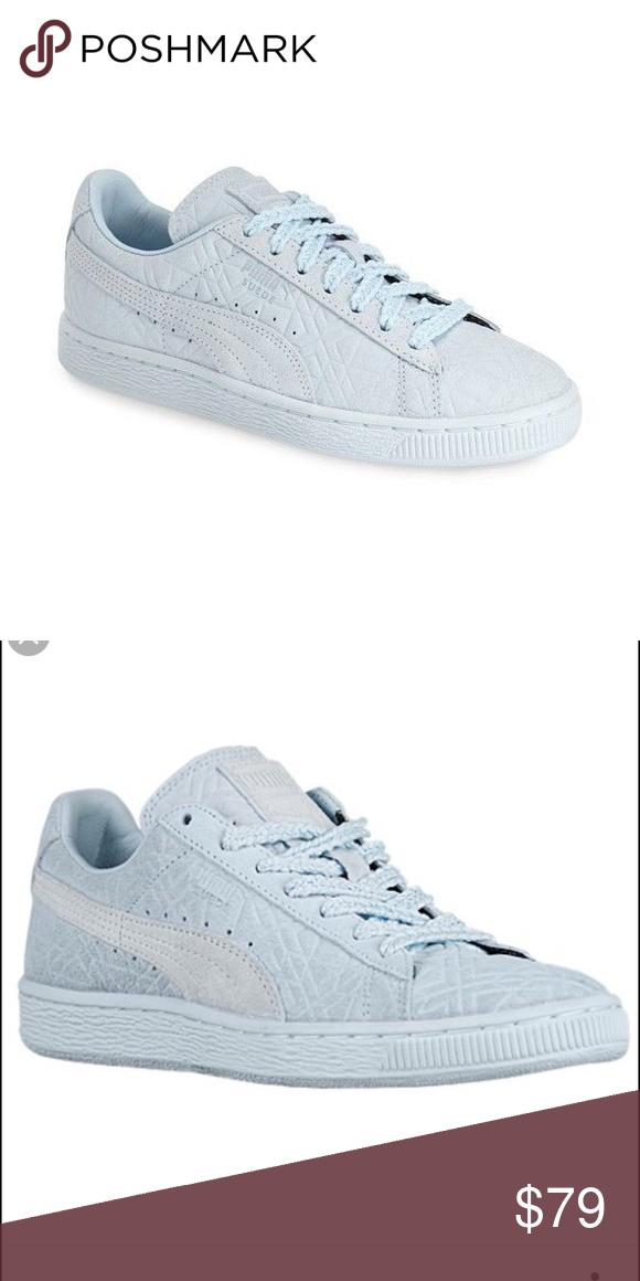 Puma Suede Light Blue Size 7.5 Lightly