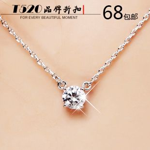 Buy one get one free AAA zircon 925 sterling silver necklace female south Korean adorn article author brief paragraph clavicle birthday gift