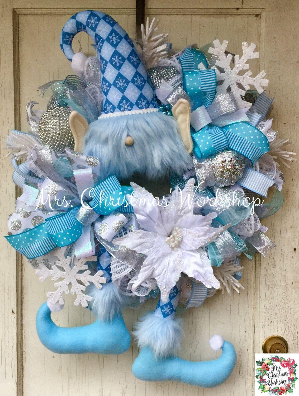 Christmas wreath, blue Christmas wreath, elf wreath with ...
