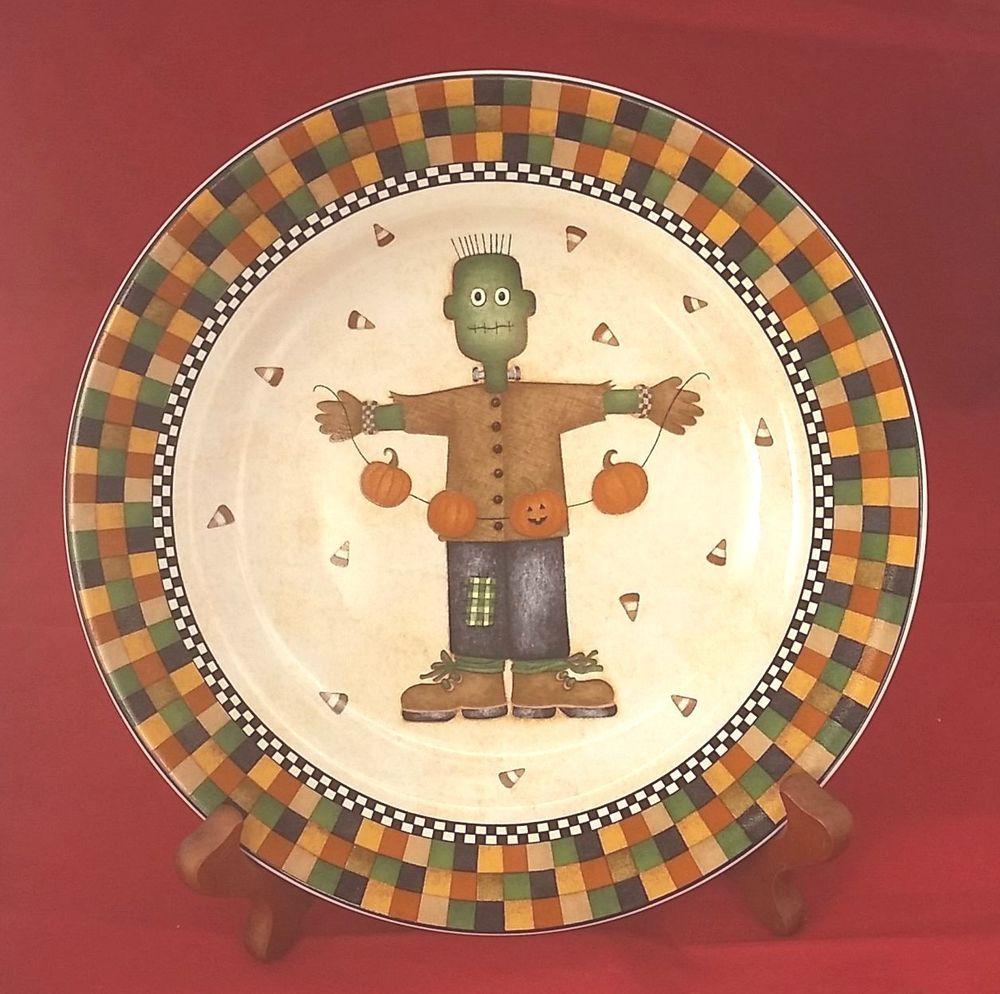 halloween frankenstein scarecrow sakura oneida debbie mumm 2001 ceramic 8 plate - Halloween Plates Ceramic