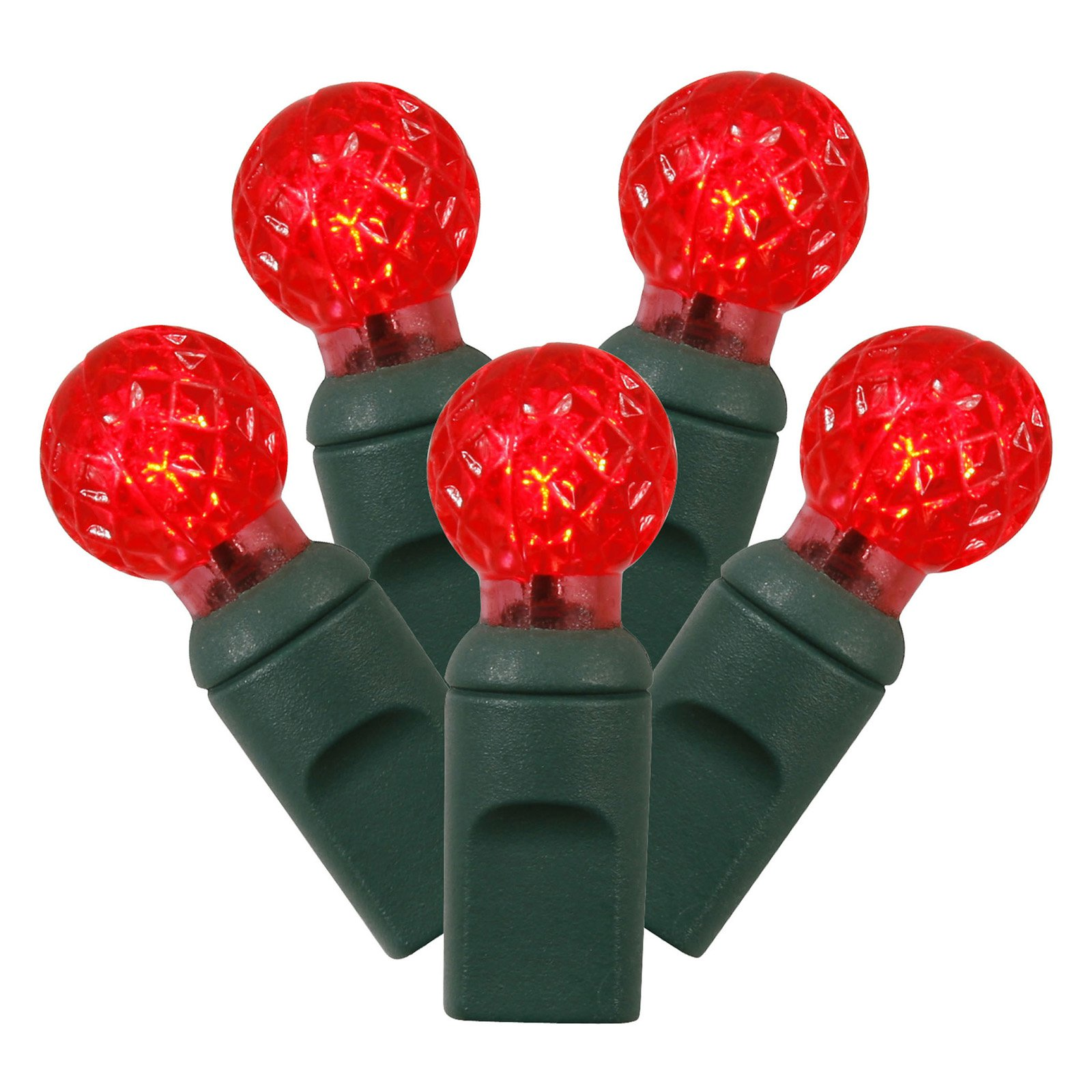 Vickerman 100 Count Single Mold G12 Berry LED Light Set with White Wire Orange