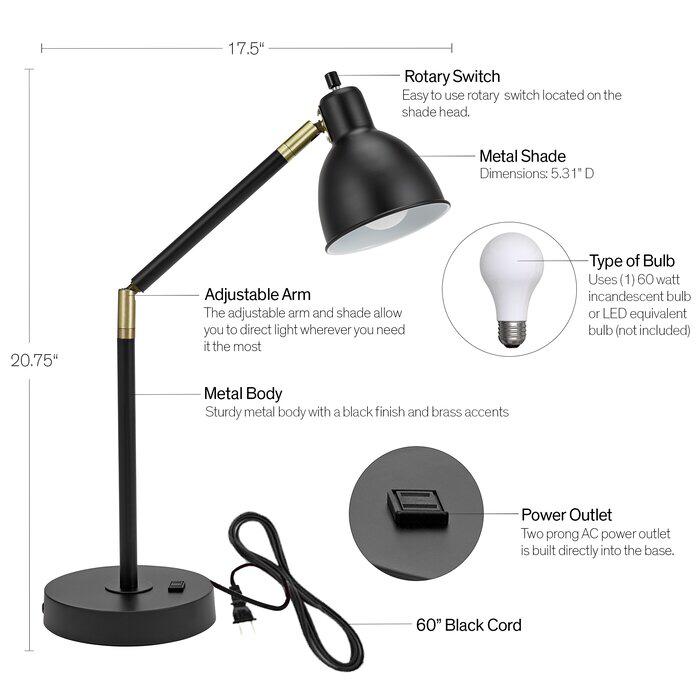 Wrought Studio Markey 21 Desk Lamp Reviews Wayfair Lamp Desk Lamp Black Desk Lamps