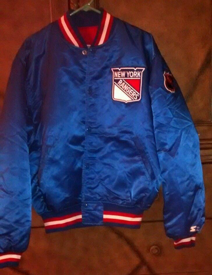 "NEW YORK NY RANGERS NHL HOCKEY ""STARTER"" SATIN JACKET COAT. EXC. XL BLUE MEN #Starter #NewYorkRangers"