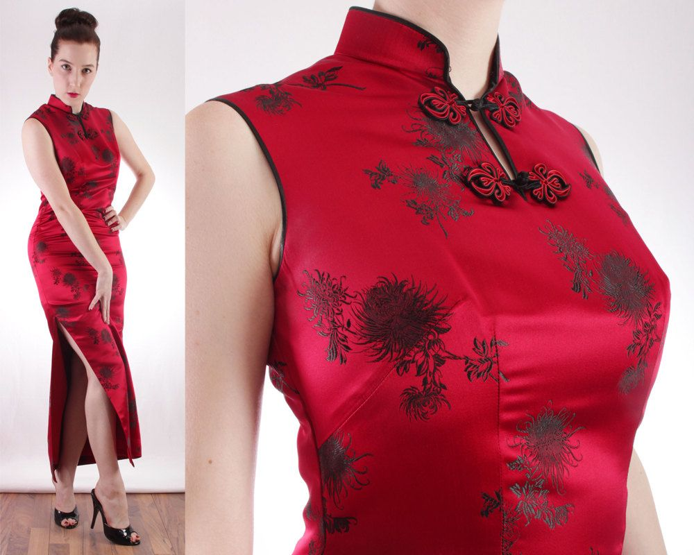 60s Chinese Silk Cheongsam Dress Chinese Wiggle Dress Sexy Asian ...