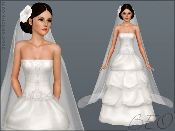 Bridal Long Veil And Hair Flowers For Wedding Sims 3 Free At Beo Creations