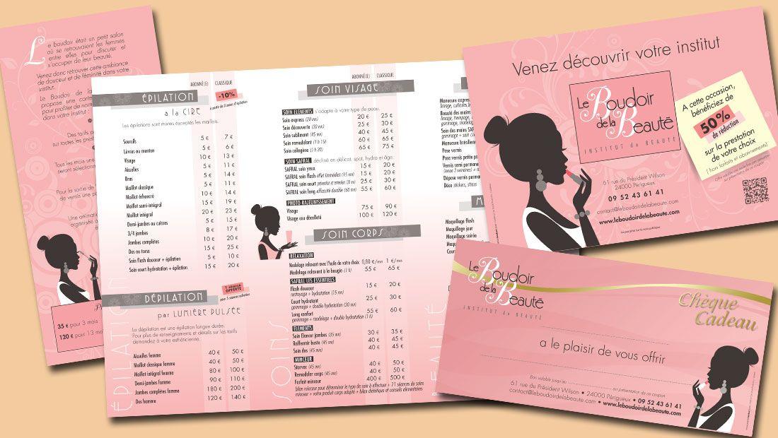 Imprimés pour un institut de beauté Tarif, flyer et