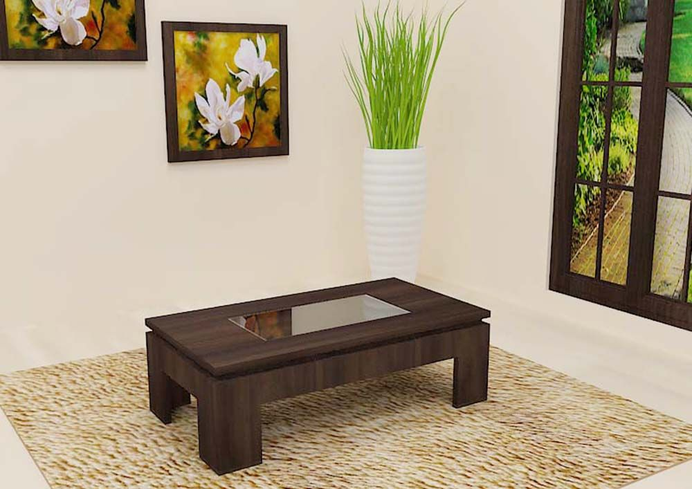 Center Table Made Up Of Plywood With Glass Top Adds Value To The