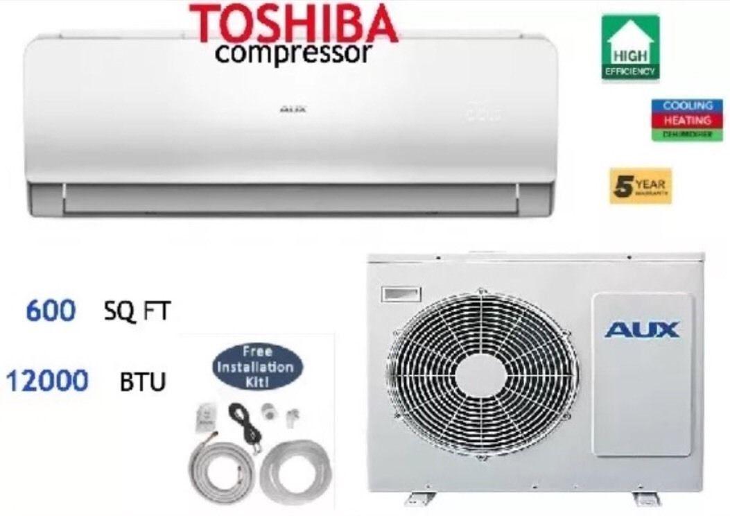 12,000 BTU Ductless Air Conditioner Heat Pump Mini Split 110V 1 Ton With//Kit