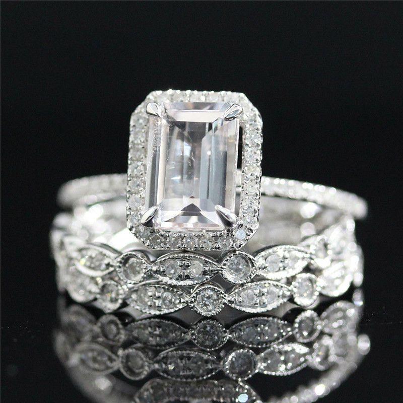 3ct Emerald Cut Diamond Solitaire Bridal Set Engagement Ring