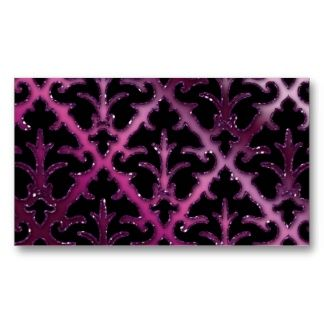 Wedding Event Planner Damask Purple Sparkle Pink Business Cards