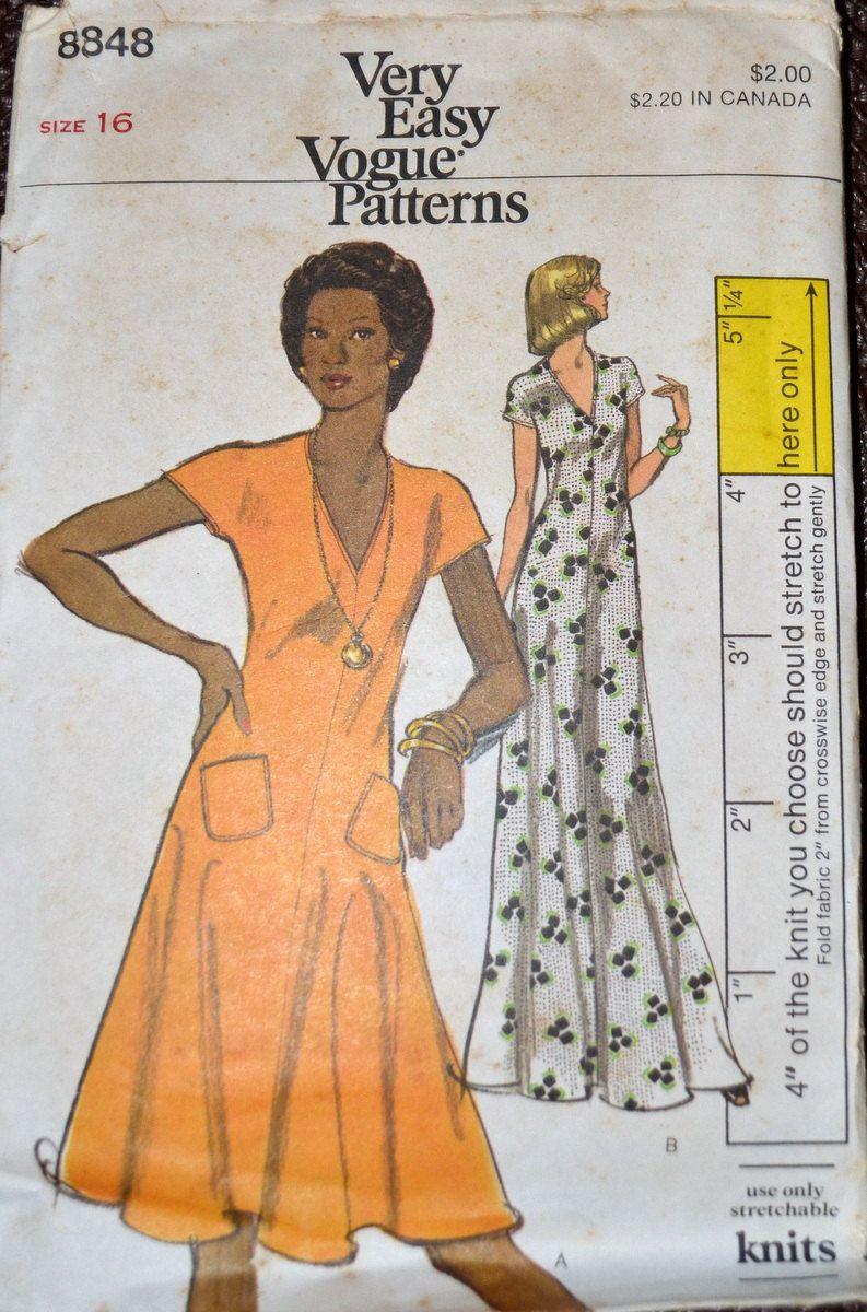 Vintage 70s Sewing Pattern Vogue 8848 Pullover Dress Bust 38