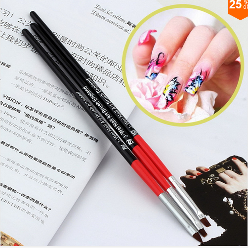 1Set/3PCS Soft and Professional Pen UV Gel Drawing Painting Nail Art Brushes Manicure Nail Tools
