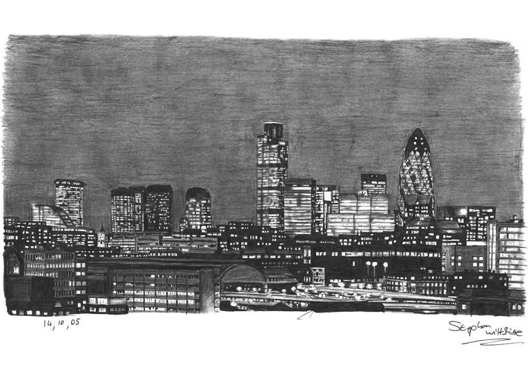 City Night Skyline Drawing | Drawings | Pinterest ...