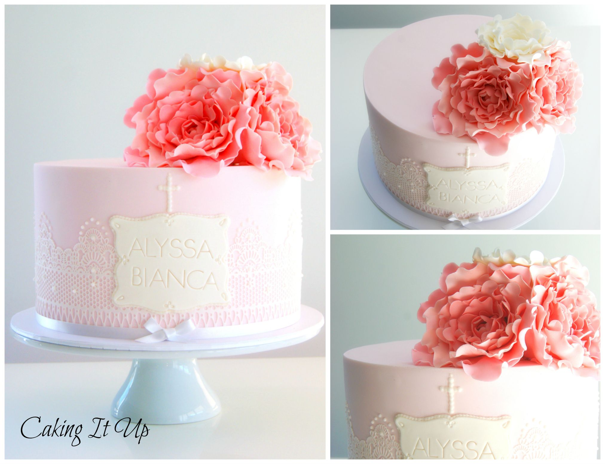 Pretty In Pink One Tier Cake With Edible Lace And