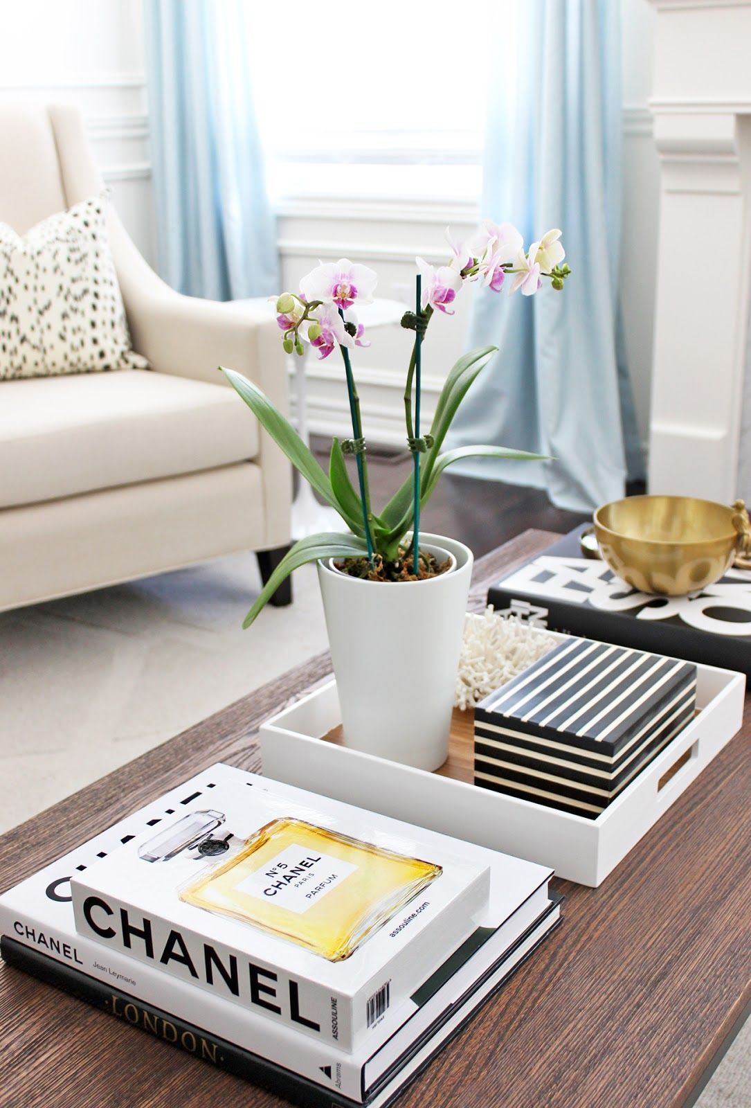 phalaenopsis orchid, chanel coffee table books | am dolce vita